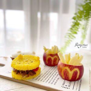 蓉媽創意食譜,不怕孩子吃膩! | 角落生物米漢堡 + 麥當勞蘋果薯條